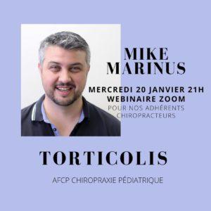 Webinar avec Mike Marinus sur le torticolis